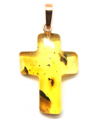 Cross shape Baltic amber gold pendant with insects